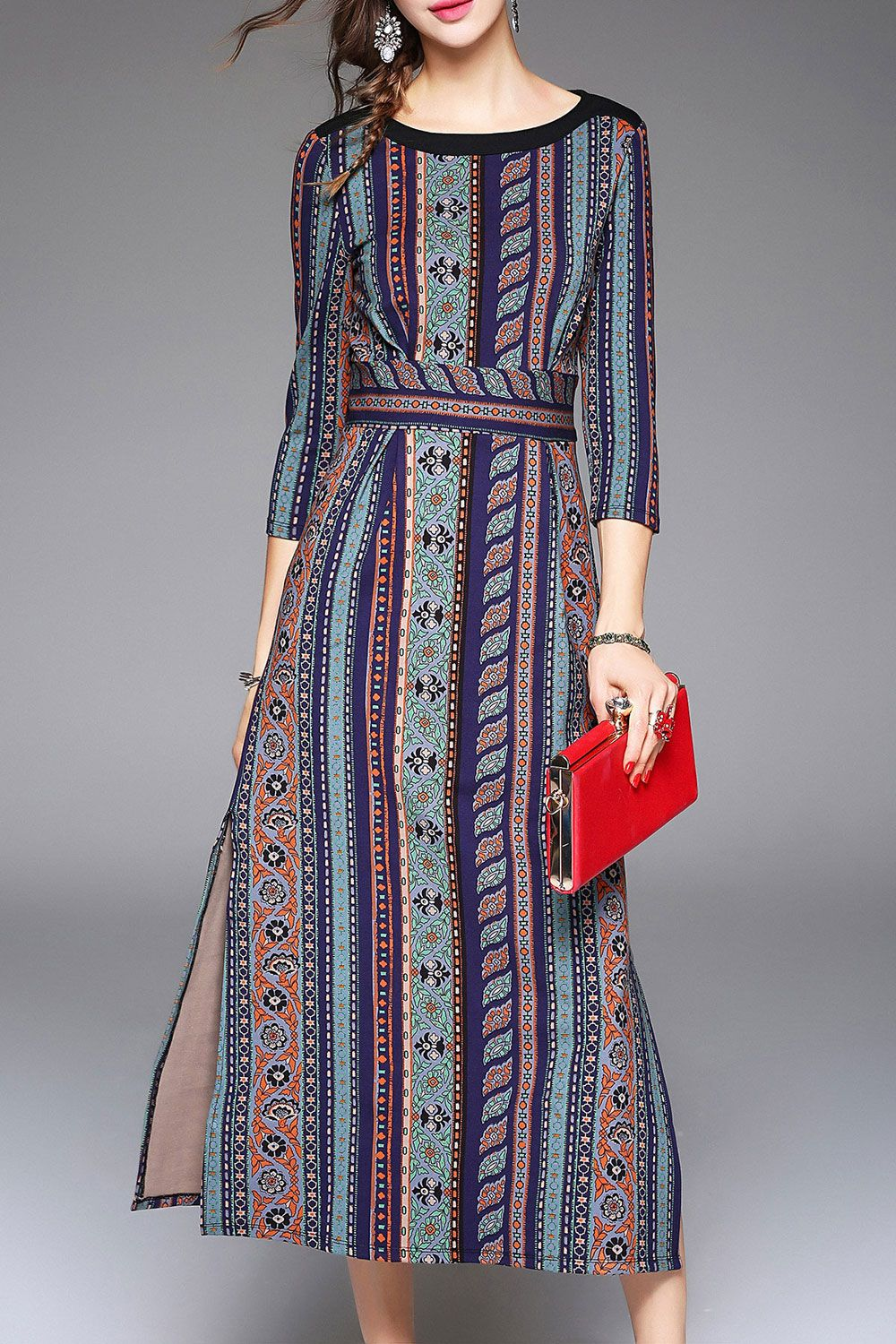 Three Quarter Sleeve Print Slit Midi Dress