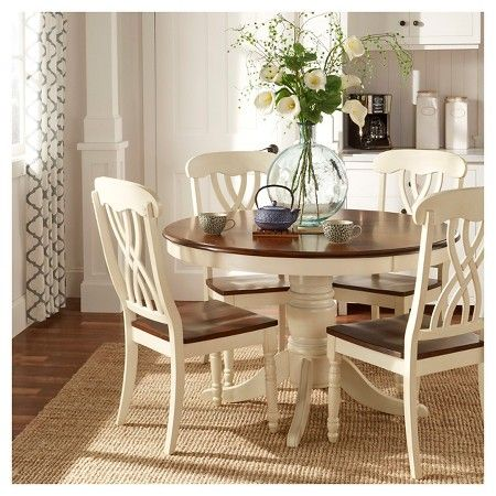 5pc Countryside Round Table Set Antique White Inspire Q For The Home Home Dining Dining Set