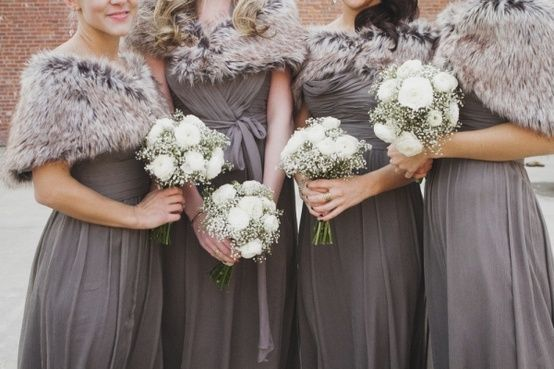 Elegant Pewter Bridesmaid Dresses And Coordinating Fur Shawls Winter Wedding