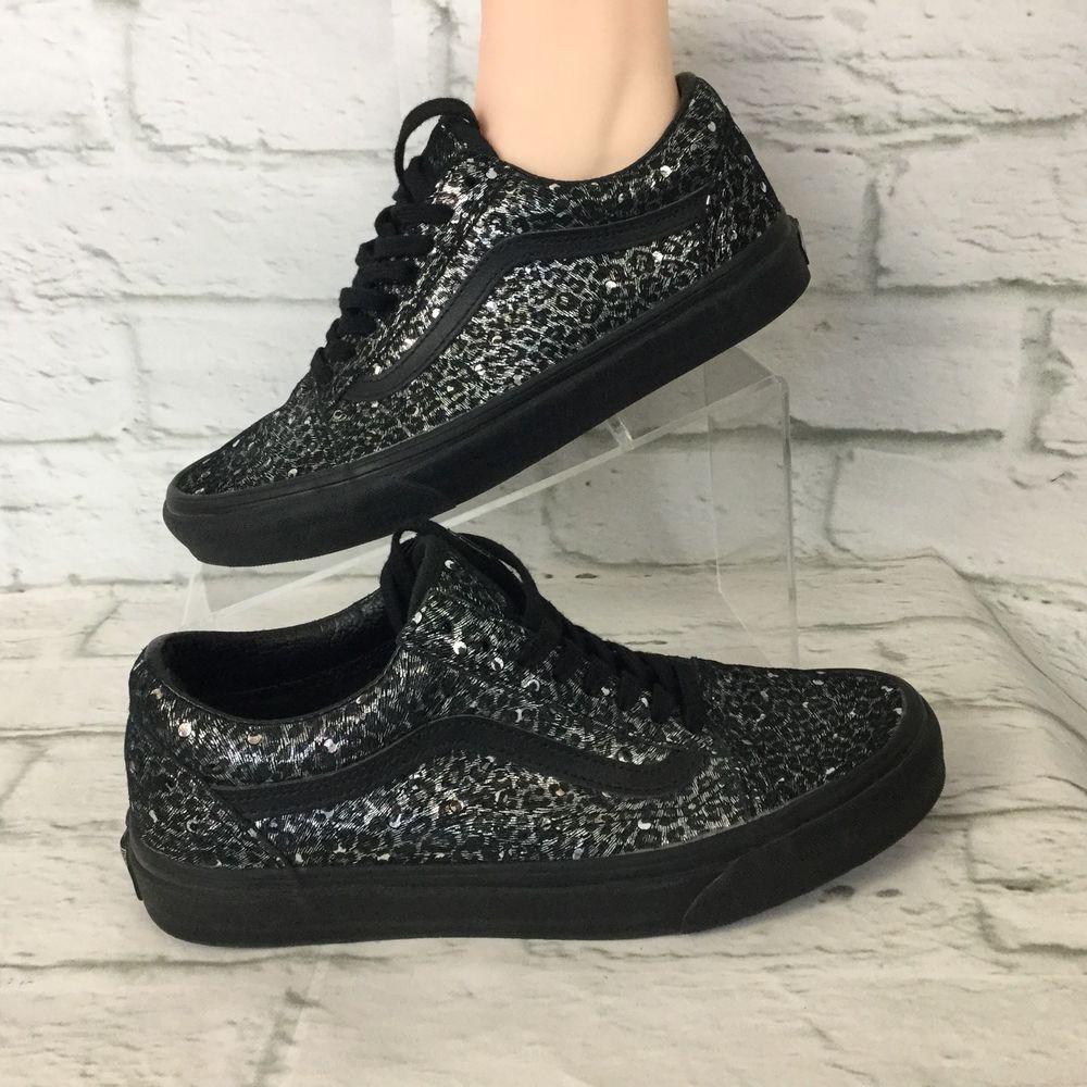 e1359e4a4f13e VANS Old Skool Metallic Leopard Black Skate Shoes WOMEN'S Size US 8 ...