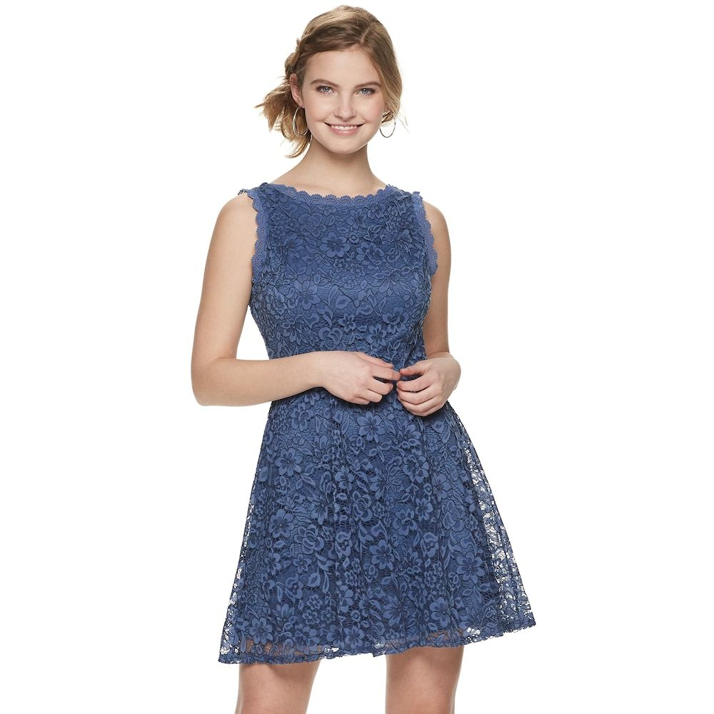 82abe43dc5702c Juniors' Lily Rose Sleeveless Lace Fit & Flare Dress, Teens, Size: Small,  Orange