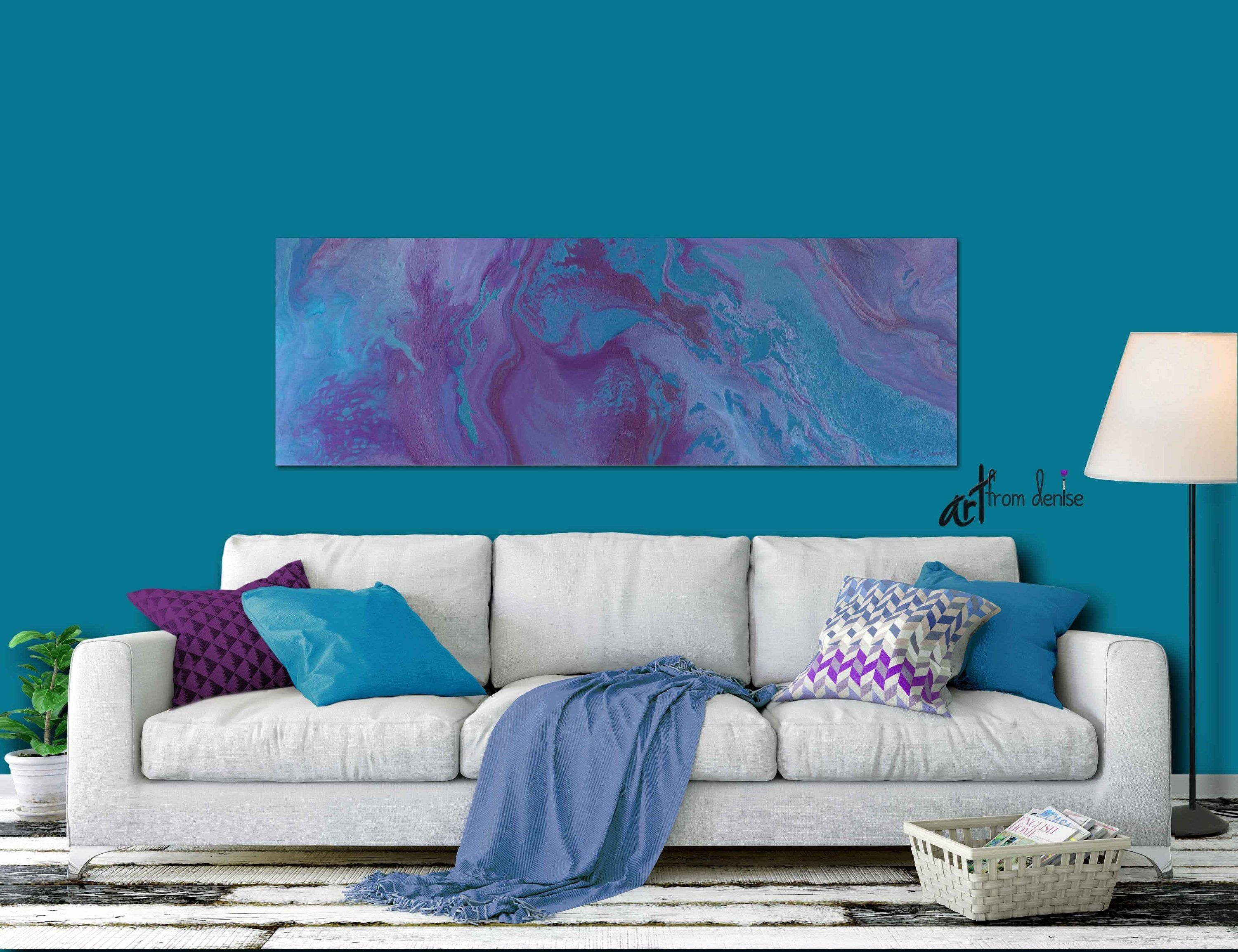 Panoramic Canvas Wall Art Purple Blue Turquoise Plum Etsy Purple Living Room Living Room Decor Gray Purple Wall Decor