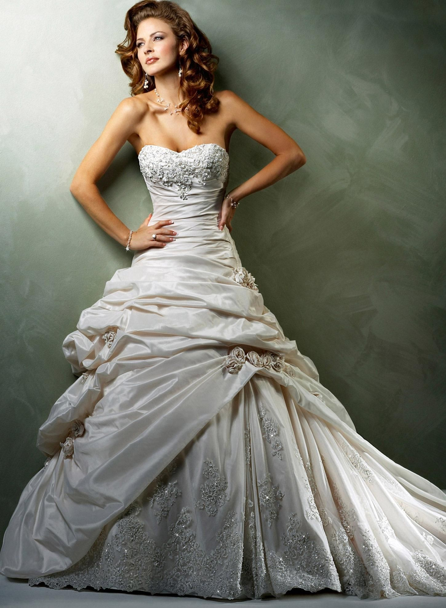 Light Gold/Ivory Lace with Pewter Accent Taffeta Sabelle Wedding ...