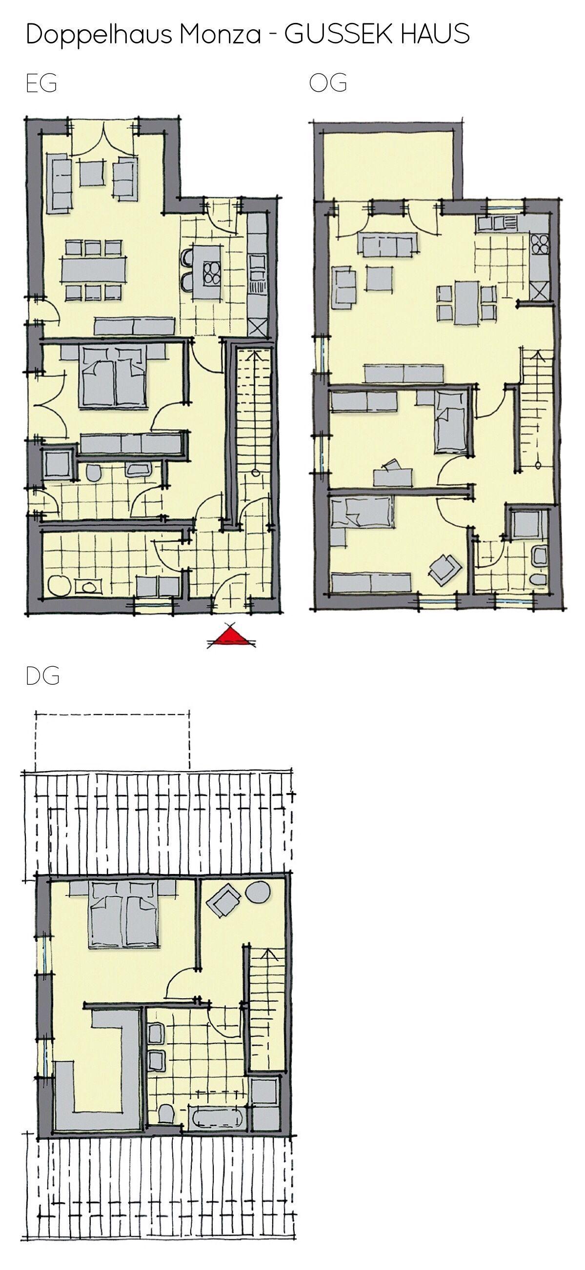 Doppelhaus Grundriss groß mit Einliegerwohnung & gerade