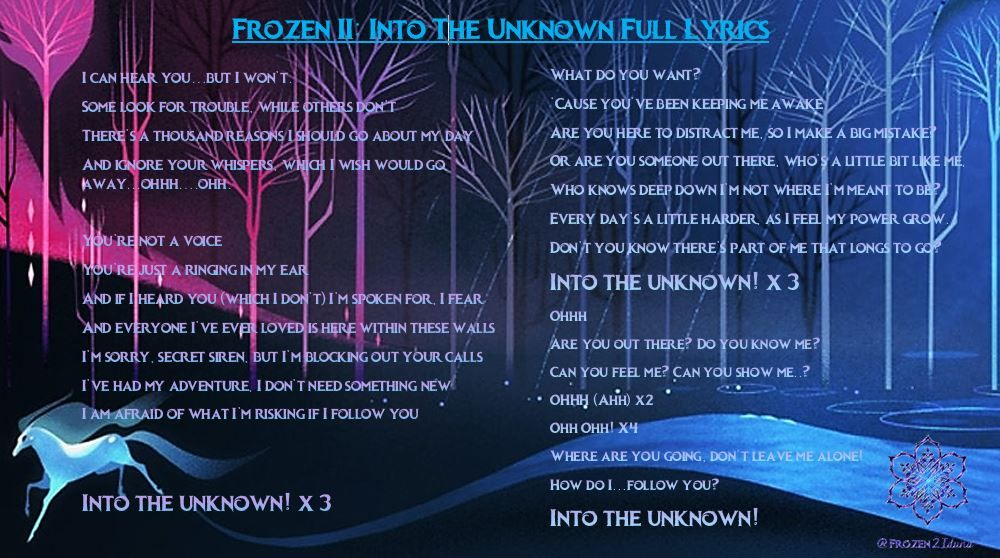Into The Unknown Lyrics From Frozen Ii Frozen2 With Images