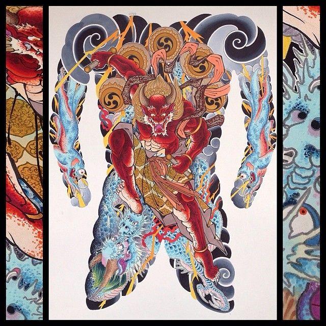Raijin ɛ·ç¥ž And His 2 Homies Raiju ɛ·ç£ Copicmarker 77by 56cm Hinh Xăm LÆ°ng Hinh Xăm Xăm Raijin and raiju in kitsune form #raijin #raiju #kitsune #japanese. raijin 雷神 and his 2 homies raiju
