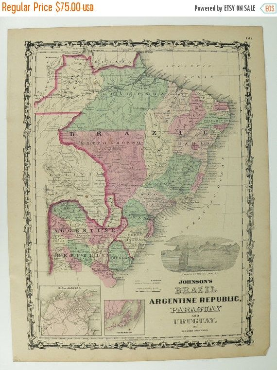S Antique Map Of Brazil South America Map Johnson Map - Argentina map for sale