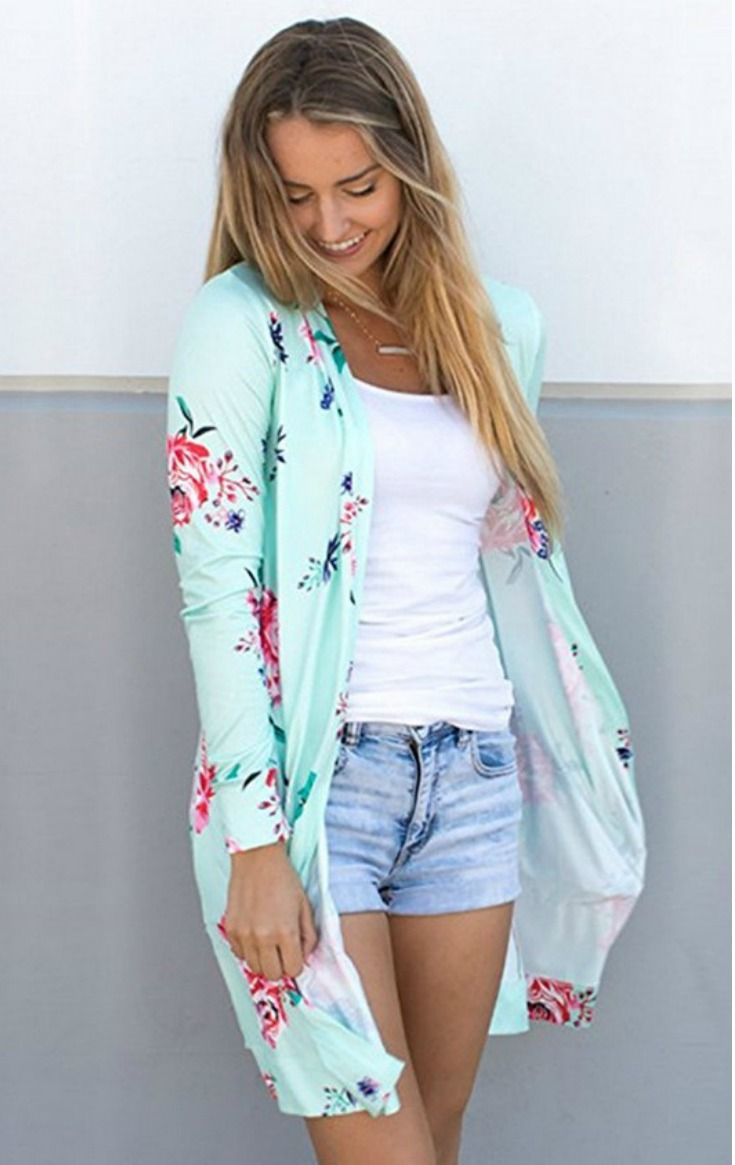 Cute floral patterned kimono cardigan outfit for women. This would ...