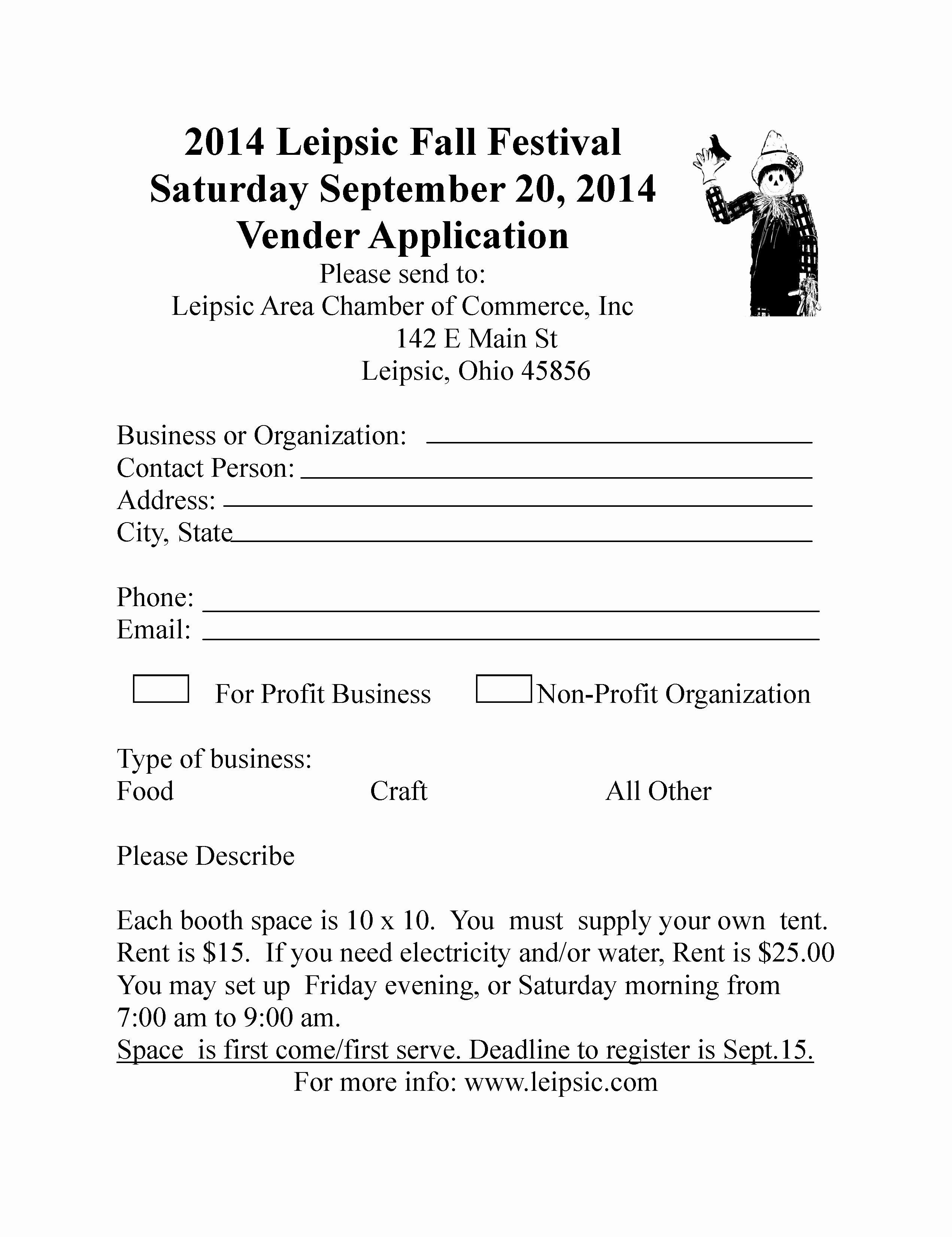 Vendor Information form New Leipsic Fall Festival