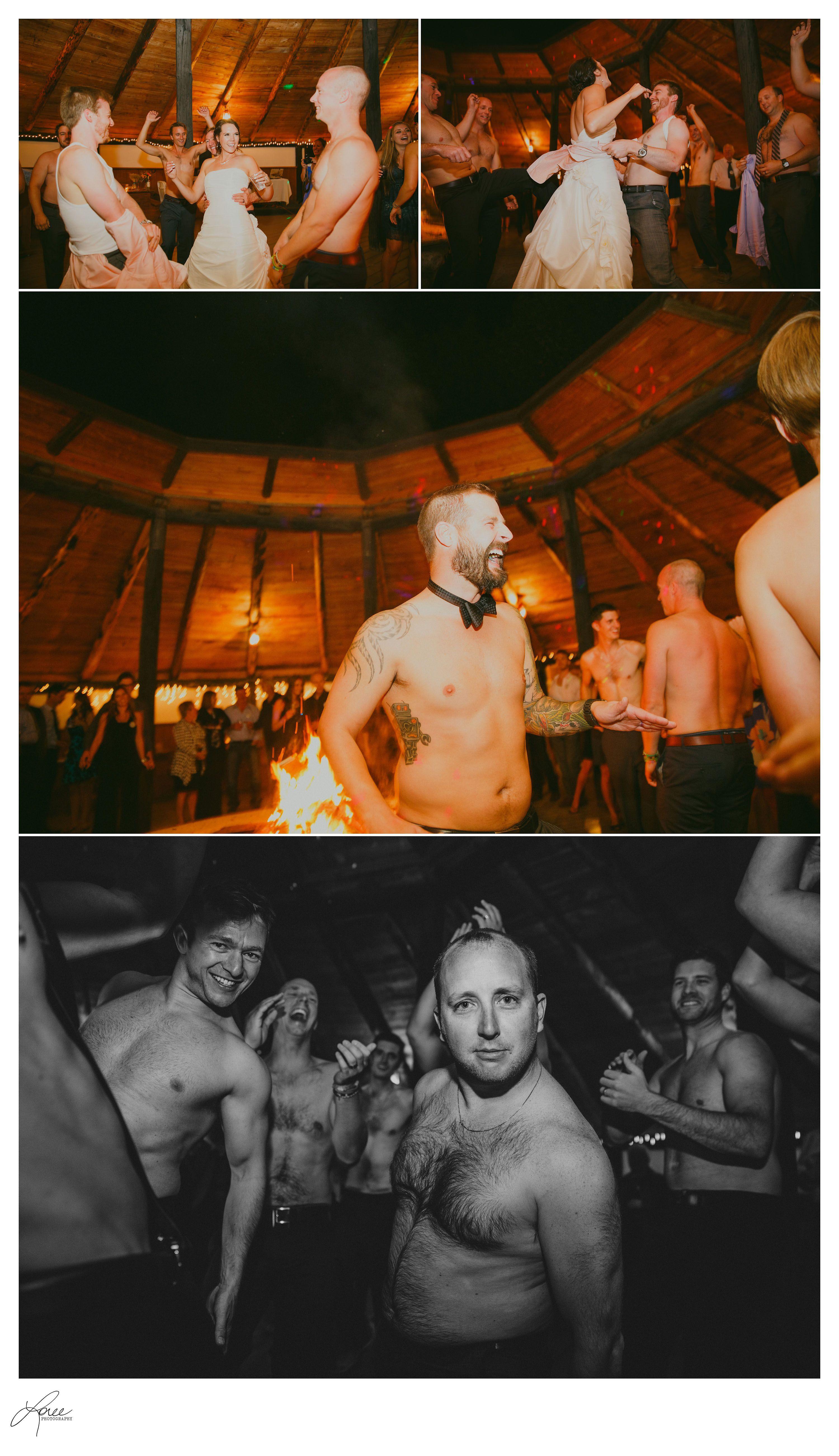"When the DJ played ""It's Raining Men"" the guys took heir shirts off an danced at the reception. Kananaskis Calgary wedding photographer photographers"