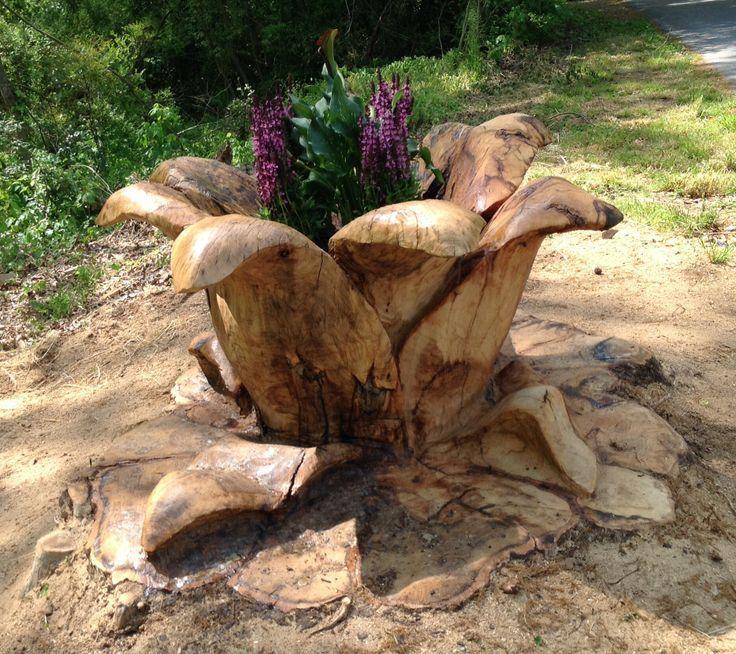 A tree stump flower planter garden art pinterest