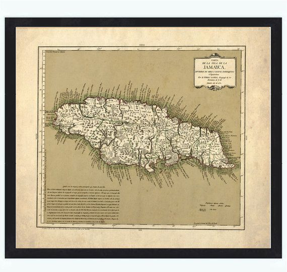 Vintage Old Map Of Jamaica Antique Map Of Jamaica Antique - Vintage map of jamaica
