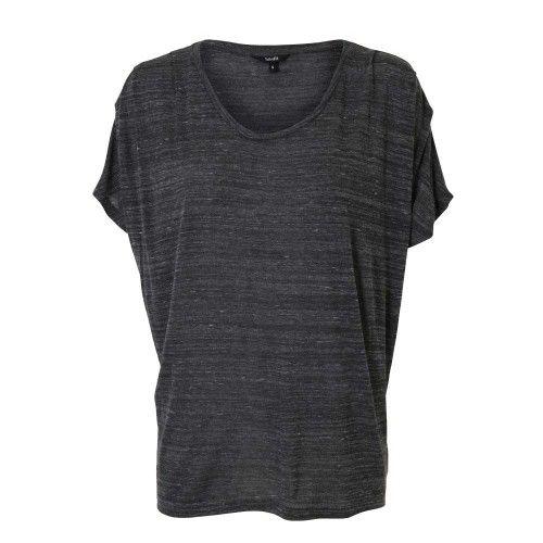 mbym Grijs gemêleerd shirt met korte mouw.  | Fashion Exclusive
