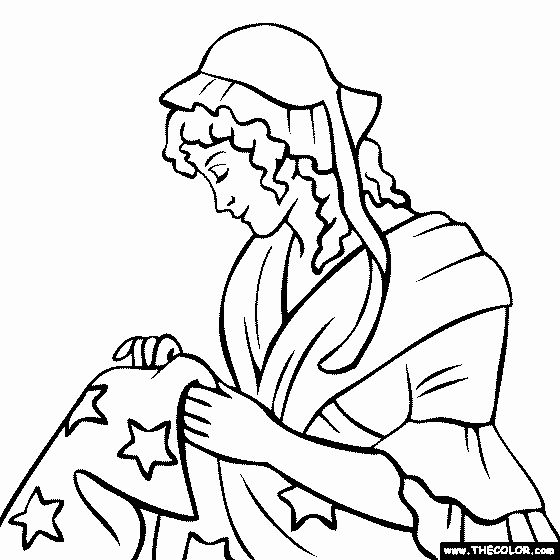 Betsy Ross Flag Coloring Page Di 2020