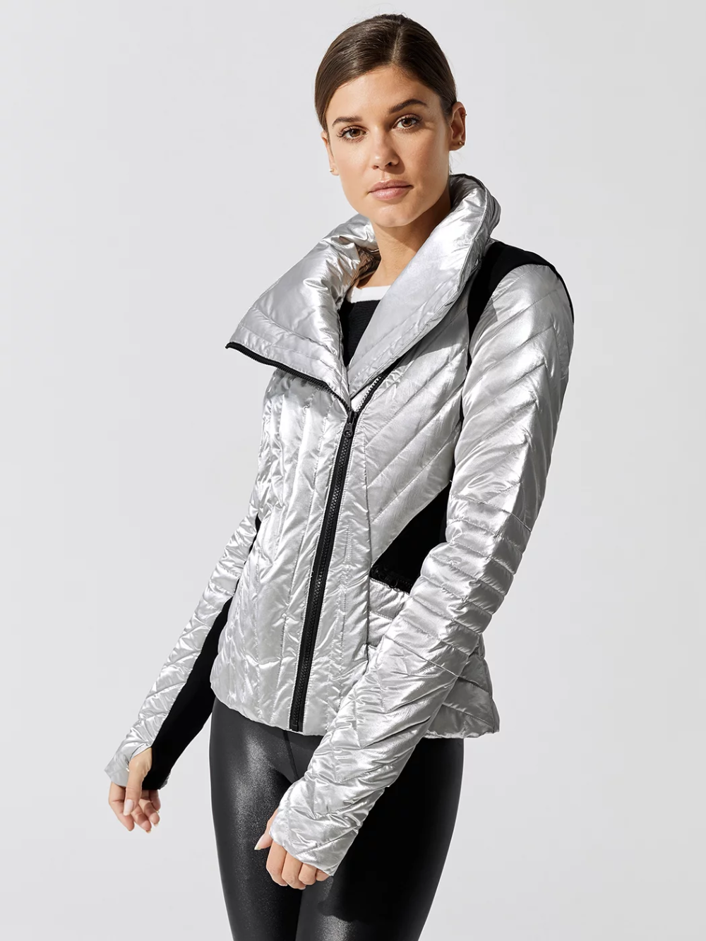 Super Hero Motion Panel Puffer In Silver By Blanc Noir From Carbon38 Puffer Jackets For Women Carbon 38 [ 1333 x 1000 Pixel ]