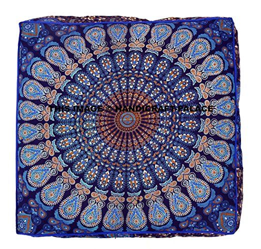 Amazon.com: Indian Mandala Floor Pillow Square Ottoman Pouf Daybed Oversized Cushion Cover Cotton Seating Ottoman Poufs Dog / Pets Bed Sold By Handcraftspalace: Home & Kitchen