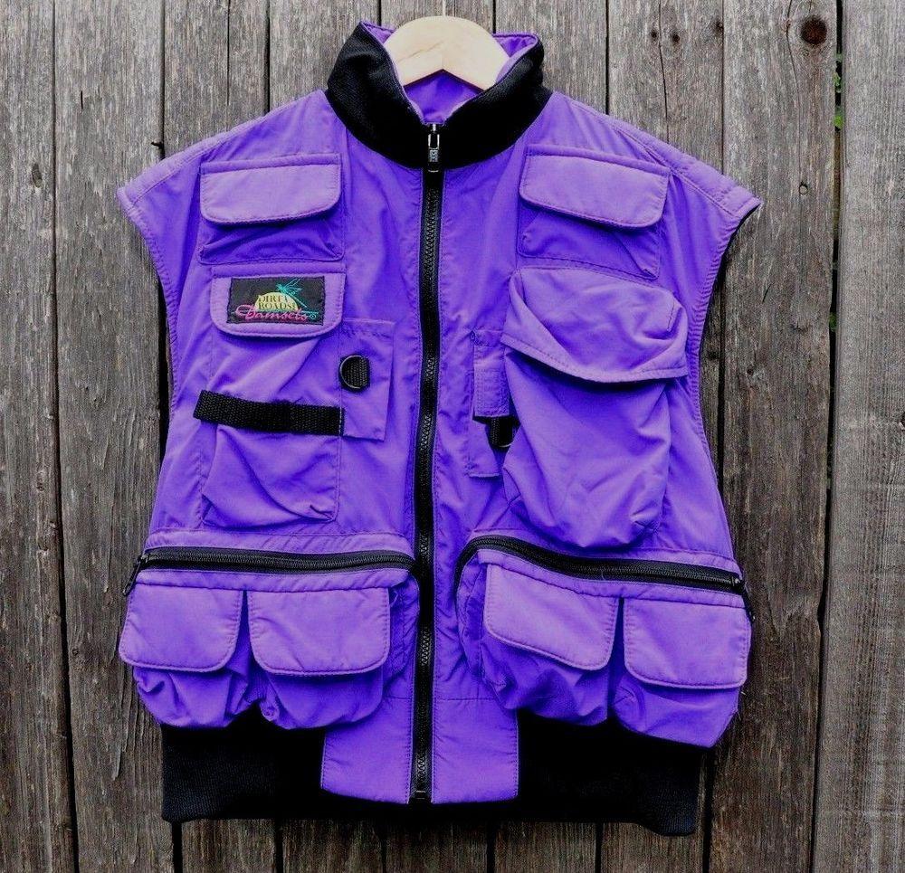 Women 39 s fly fishing vest medium purple multi pocket full for Womens fishing vest