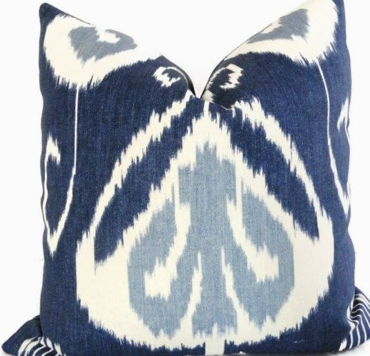 Designer Pillow Cover-Bansuri Indigo Ikat Pillow by Pillosophy