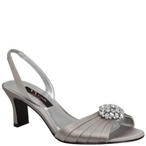 Nina Gleda | Royal Silver Crystal Satin Bejeweled, Short Story: Mid-Level Heels, Shoes, Sandals | Nina Shoes