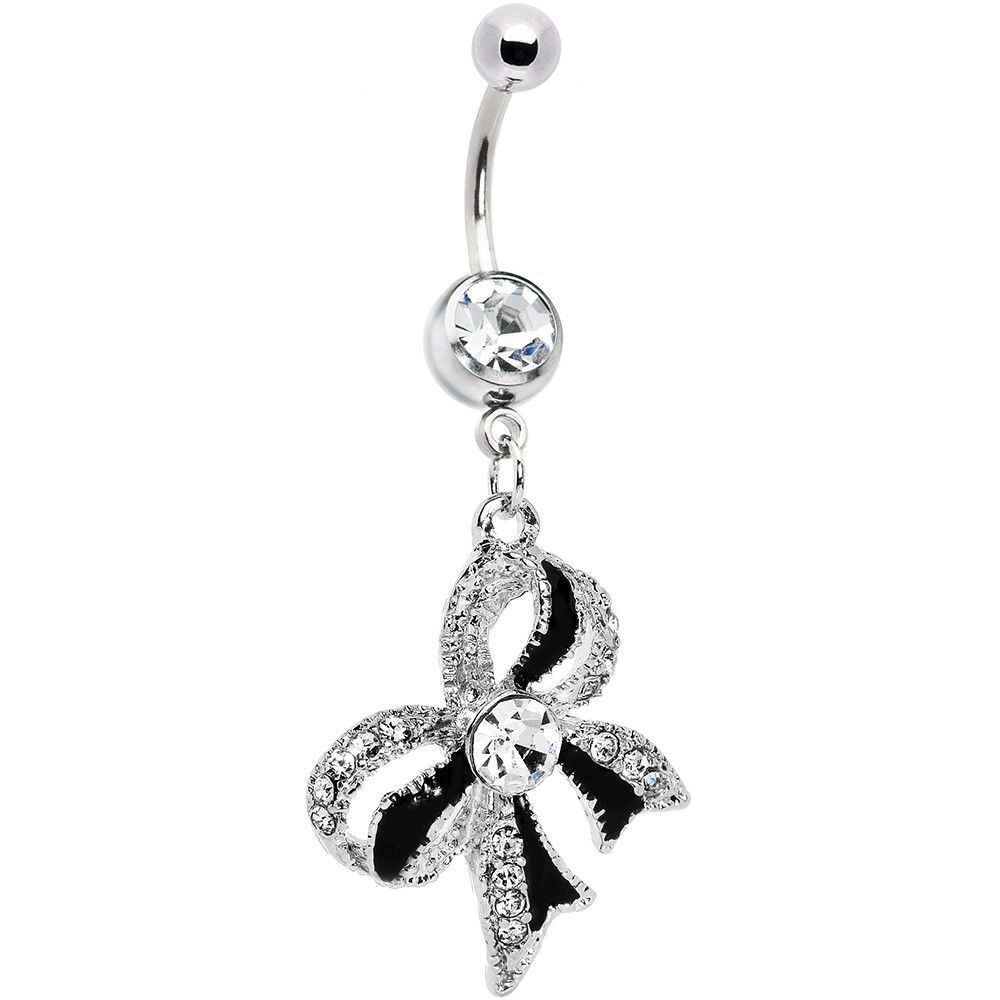 Black around belly piercing  Crystalline Gem Black Tie Bow Dangle Belly Ring  Belly button