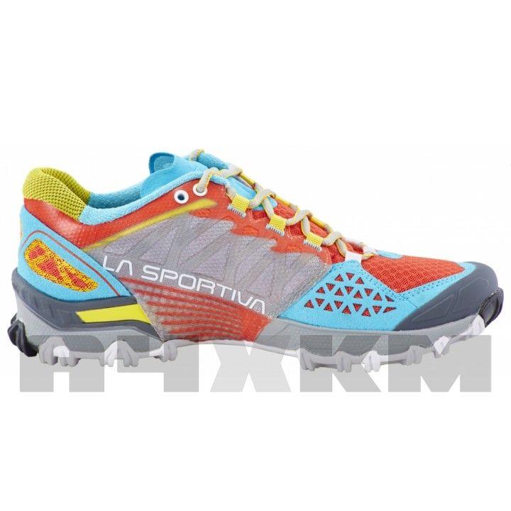 Zapatillas para trail running La Sportiva Bushido en color coral, azul y  amarillo para mujer