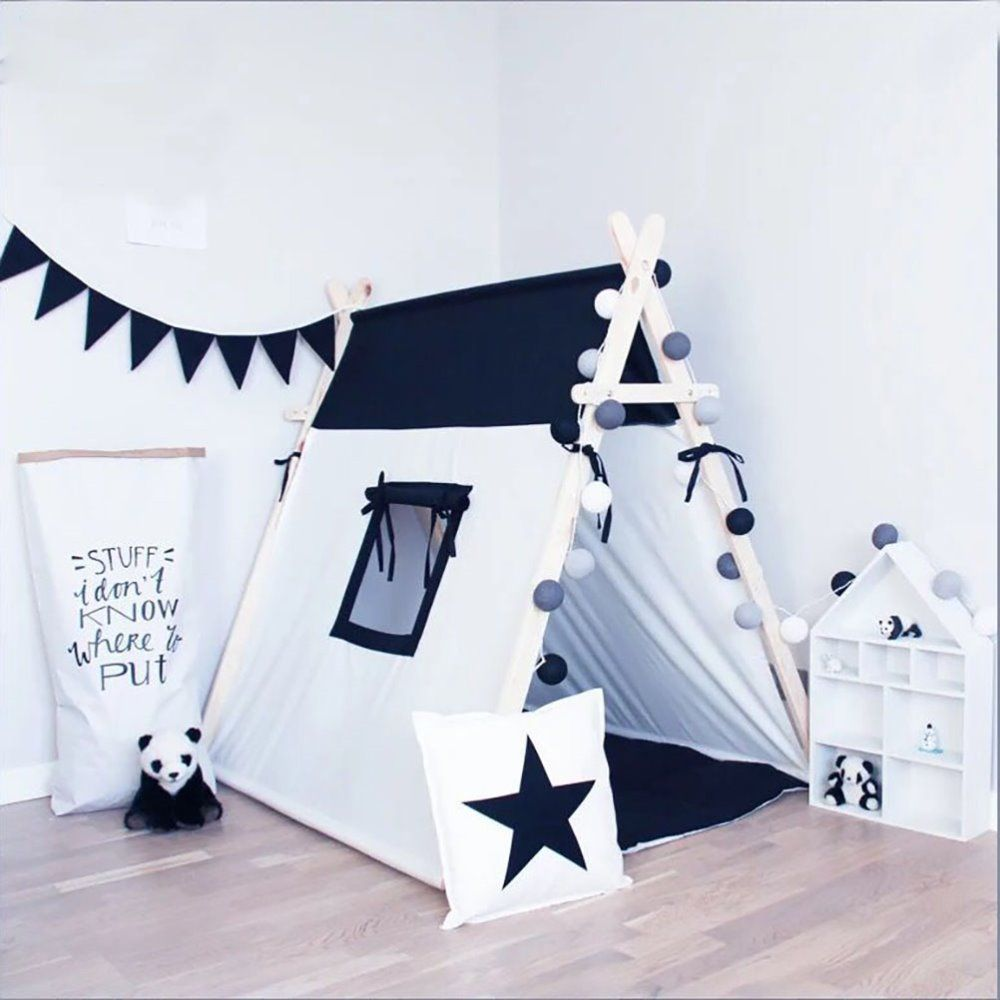 Cheap kids play tent Buy Quality tent for children directly from China play tent Suppliers black and white square design Cotton Canvas Indian Teepee Kids ... & QQ20170214122406 - | Nursery | Pinterest | Cotton canvas ...