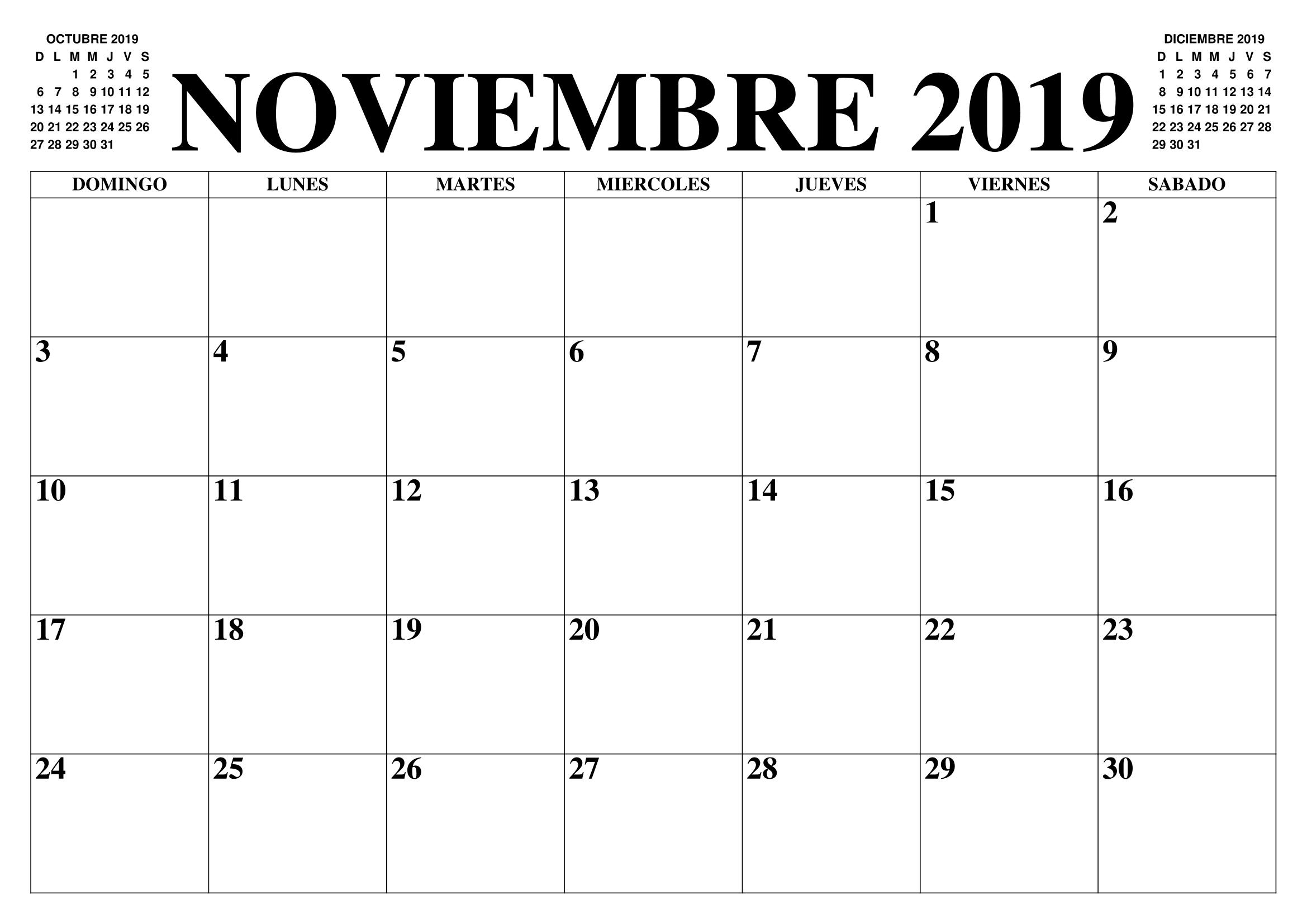 Plantilla Imprimible Del Calendario De Noviembre De 2019 Noviembre Calendario Meses Calendario Calendario En Blanco