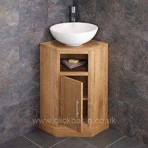 Corner Oak Vanity Unit With Large Round Basin Bundle Ceramic 400mm Diameter Sink With Tap And Waste In 2020 Oak Vanity Unit Oak Bathroom Furniture Corner Bathroom Vanity