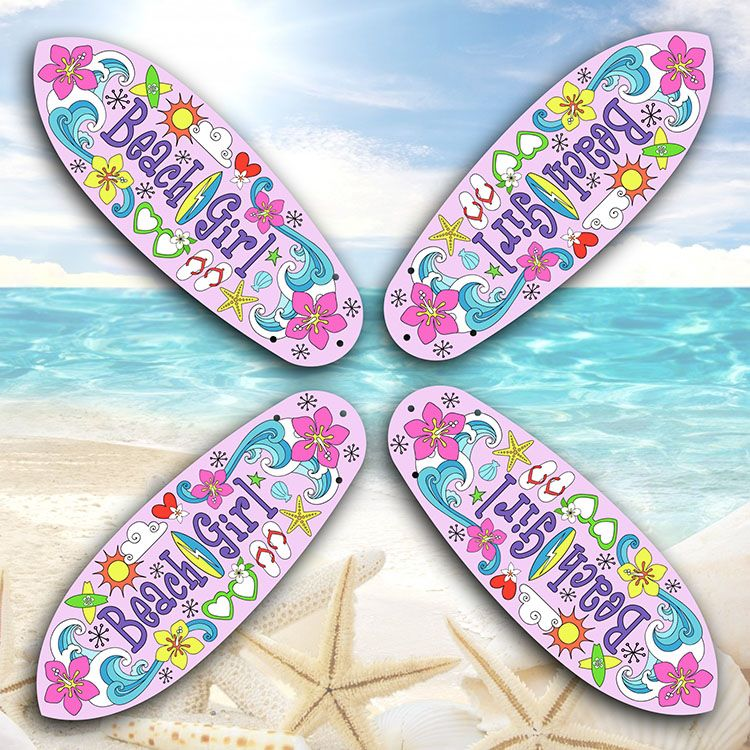 Super Cute Beach Girl Surfboard Ceiling Fan With Shaped Blades Featuring A Fun In The Sun Design Our