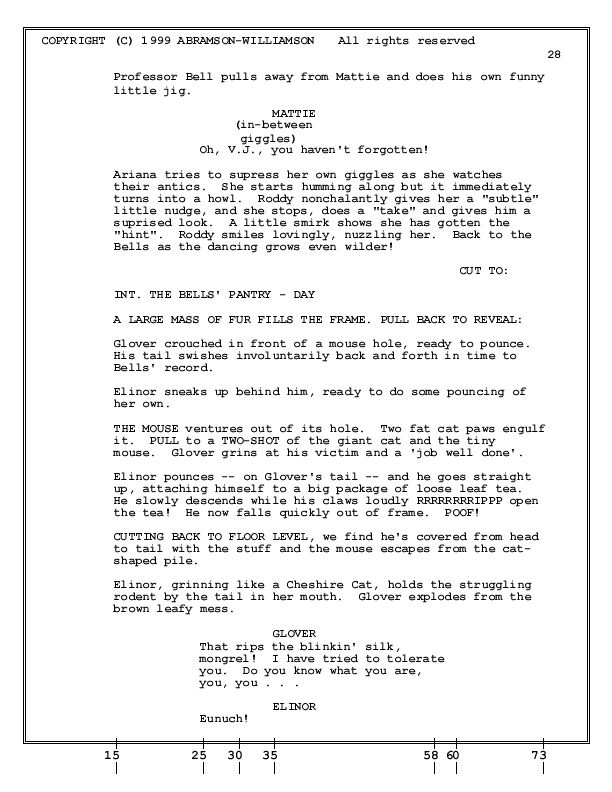 How To Format An Animation Screenplay  Sample Page  Screenplay