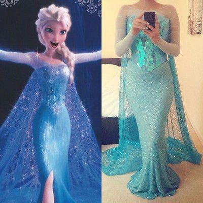 Frozen Movie Elsa Queen Blue Fancy Dress Adult Lady Tulle. Costume Cosplay Dress   eBay  sc 1 st  Pinterest & Frozen Movie Elsa Queen Blue Fancy Dress Adult Lady Tulle. Costume ...