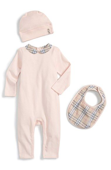 Burberry Romper, Bib & Hat (Baby Girls) available at #Nordstrom