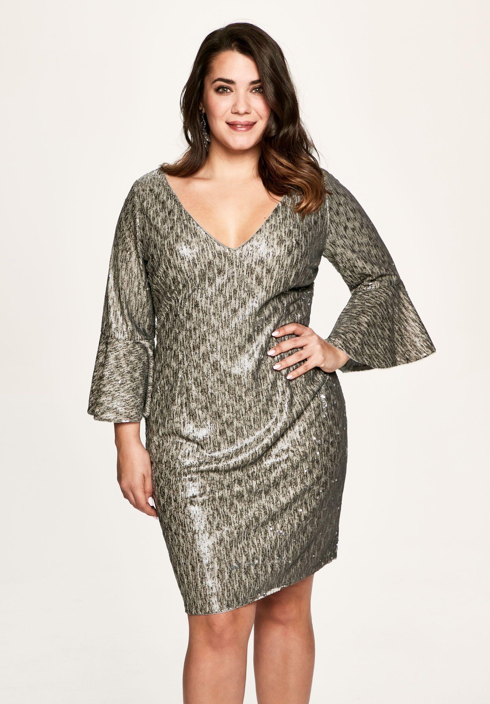 af98a628e7 Vestidos de fiesta cortos en color plateado para tallas grandes. Tienda y  online. Fabricados