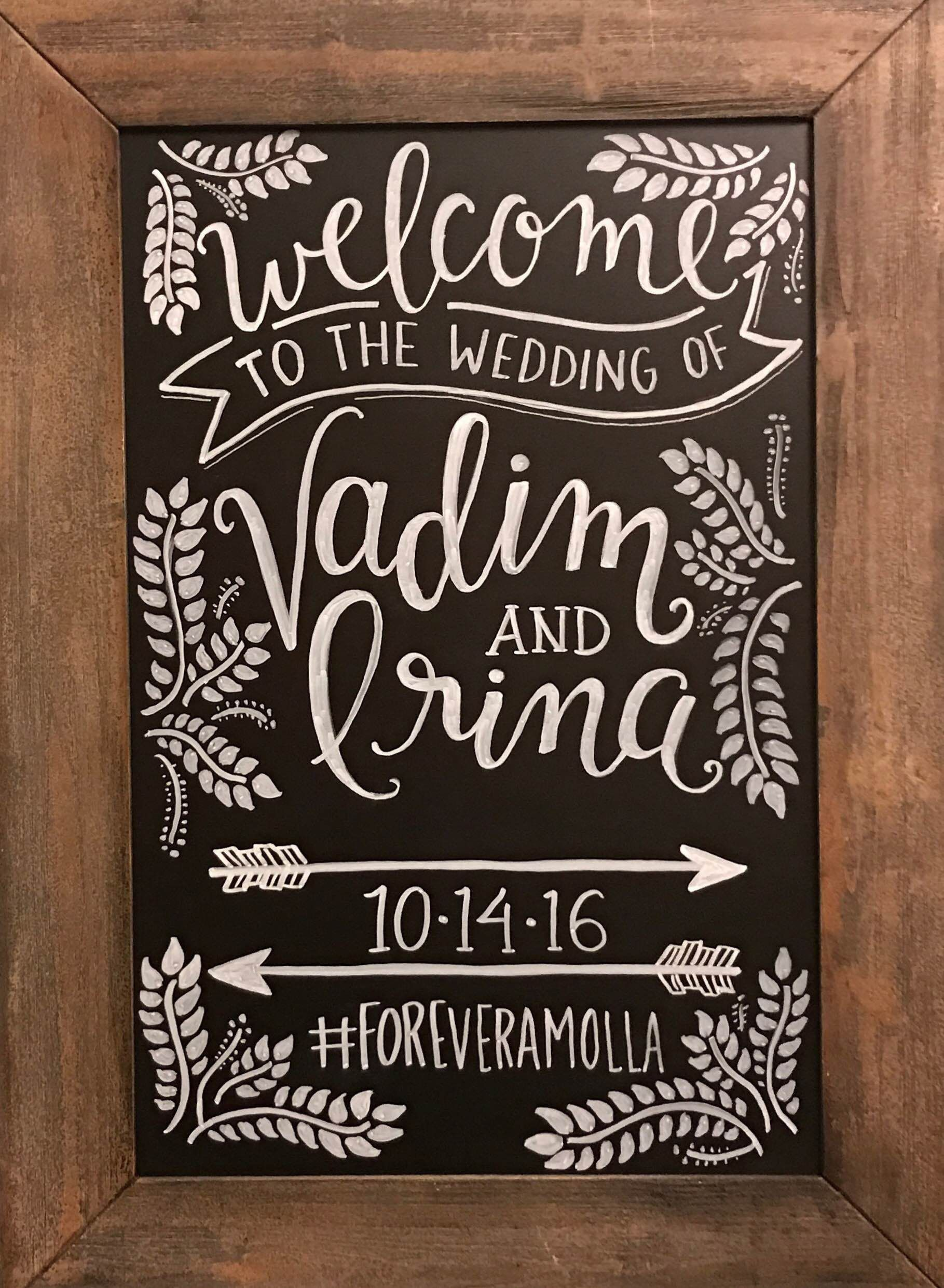 Custom Wedding Chalkboard I did for my best friend :) #Wedding #Chalkboard #Welcome #sign