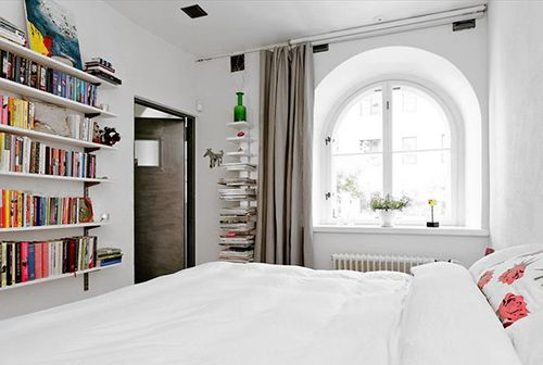 white, bed, books, decor