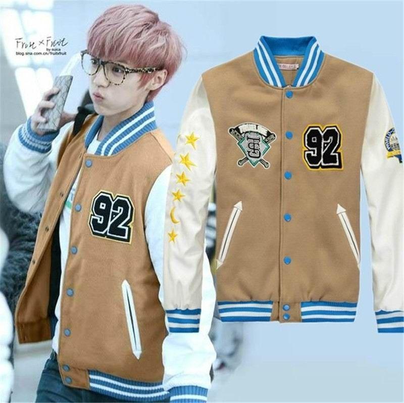 Kpop EXO Luhan brown baseball coat jacket   Kpop   Pinterest ...