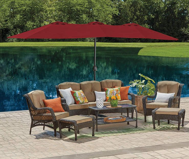 Red Triple Vent Market Patio Umbrella With Base 15 At Lots