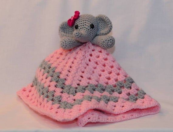 A beautiful handmade corchet elephant lovey security blanket. A plush toy and security blanket all in one #securityblankets