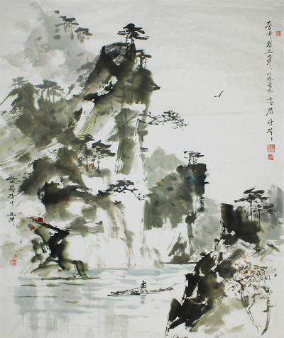 조선화가 근암(瑾癌) 김상직(74) 화백의 작품에서는 붓의 긴박감을 느낄 수 있는데, 먹의 특성과 붓의 자욱을 그대로 살리면서 대상을 간결하고 선명하게 묘사한 점이 특징으로, 속도감과 중량감이 느껴지는 선에는 \'의