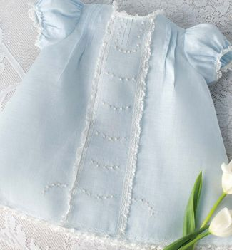 Jeannie Downs Baumeister of The Old Fashioned Baby was featured in our March/April 2011 issue of Sew Beautiful. She used her pattern Baby Day Dresses. See a white version further down.