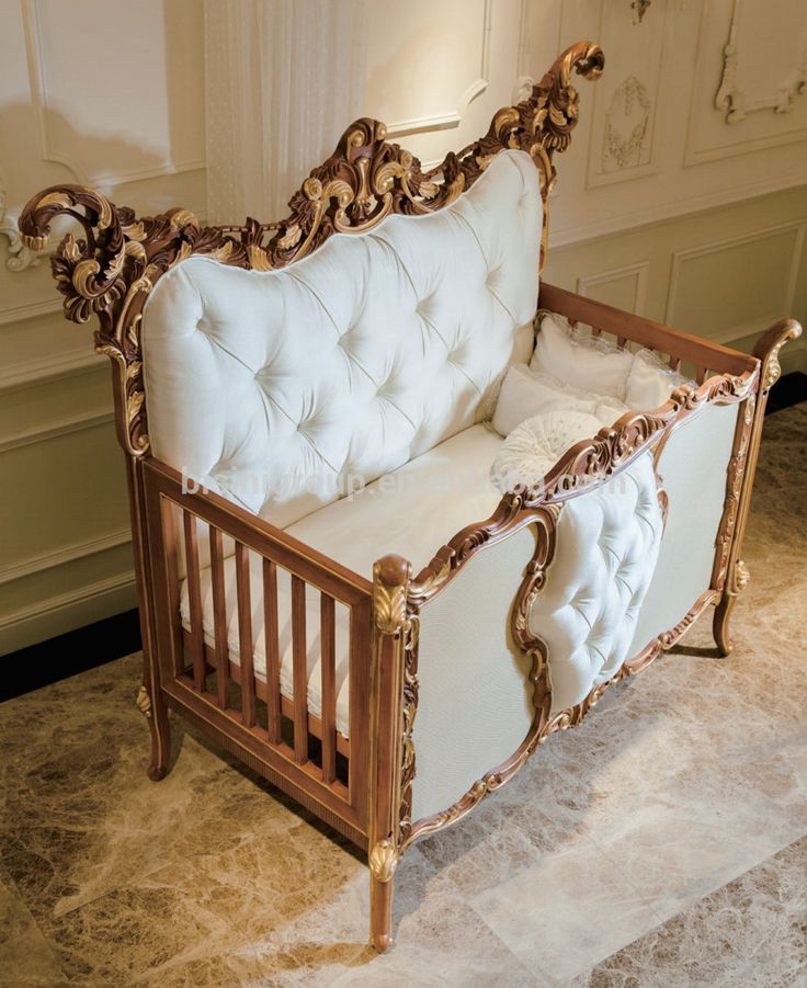 Antique rococo beech wood customized new born baby bed for Cradle bed for adults