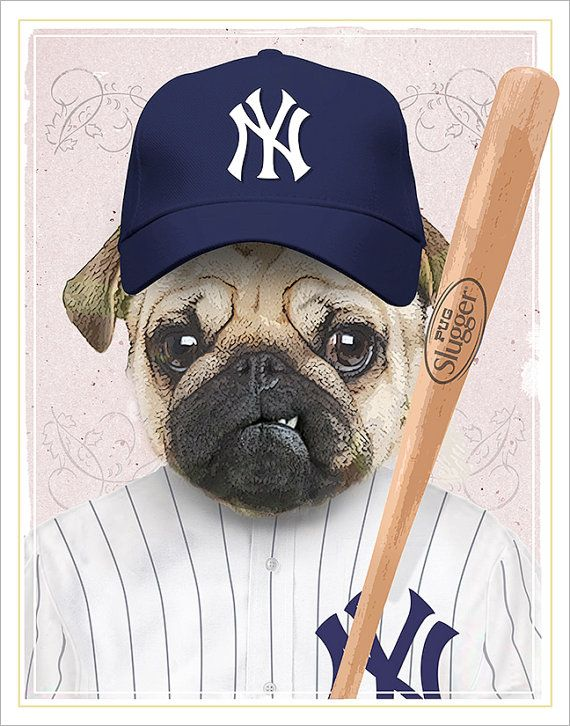 478c3190e28eb New York Yankees - Pug Dog Baseball Player - Funny dog art - Yankees fan dog  lover gift