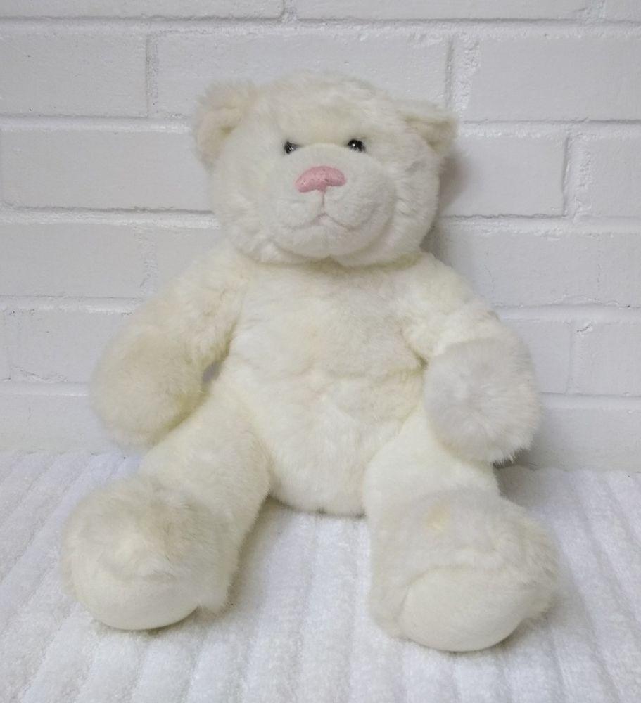 1cc2e229e6a Build a Bear White Bear Stuffed Animal Plush Beanbag Pink Nose (A29)   BuildABearWorkshop