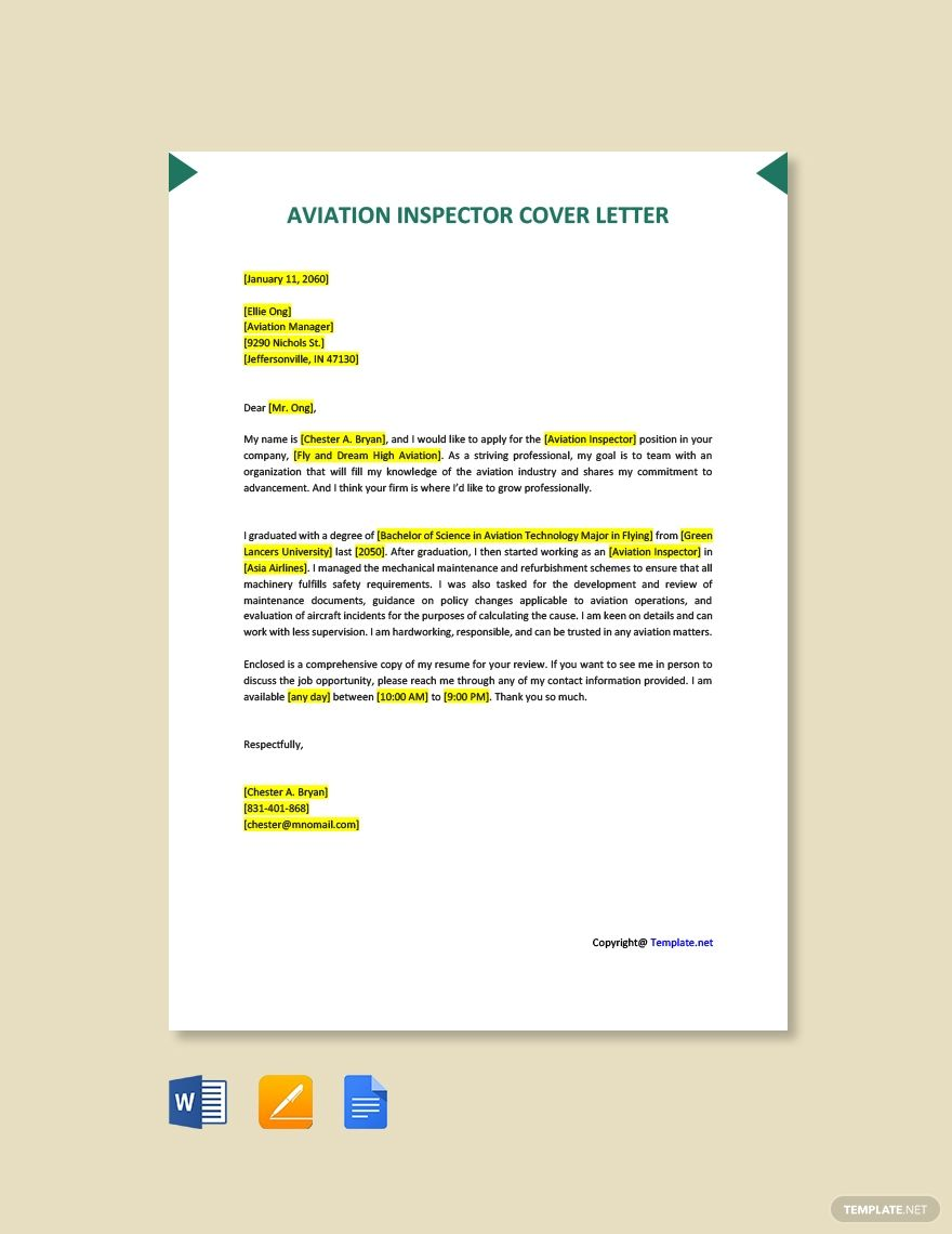 Free Aviation Inspector Cover Letter Template #AD, , #Ad, #Inspector, #Aviation, #Free, #Template, #Letter
