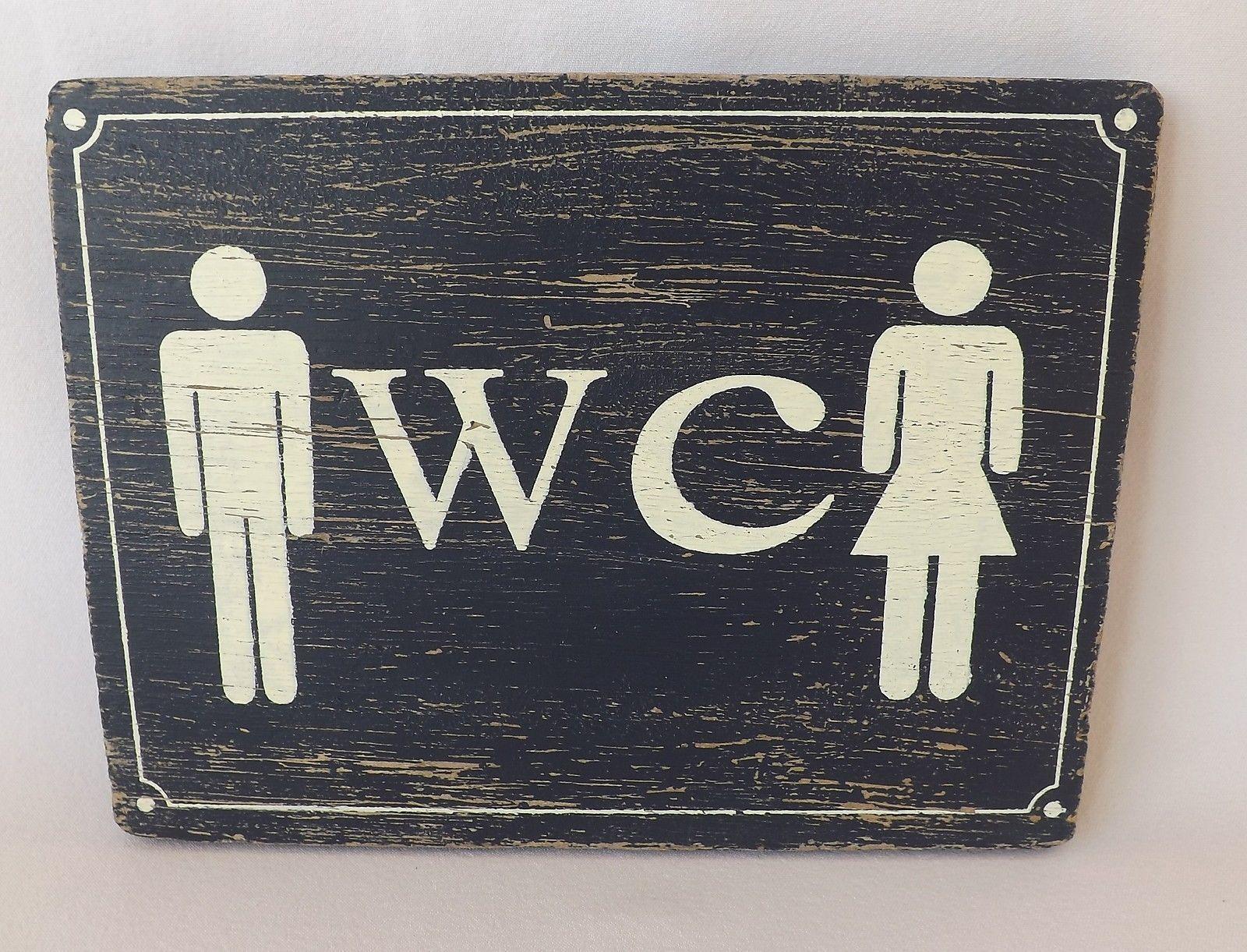 "Bathroom Signs Ebay shabby rustic chic beach blue wooden plaque ladies & gents ""wc"