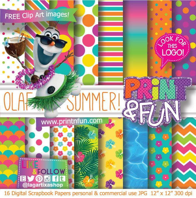 frozen olaf summer beach party pool party digital paper