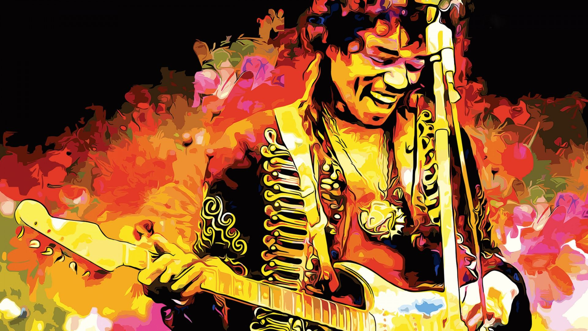 1920x1080 Wallpaper jimi hendrix, musician, guitar (With