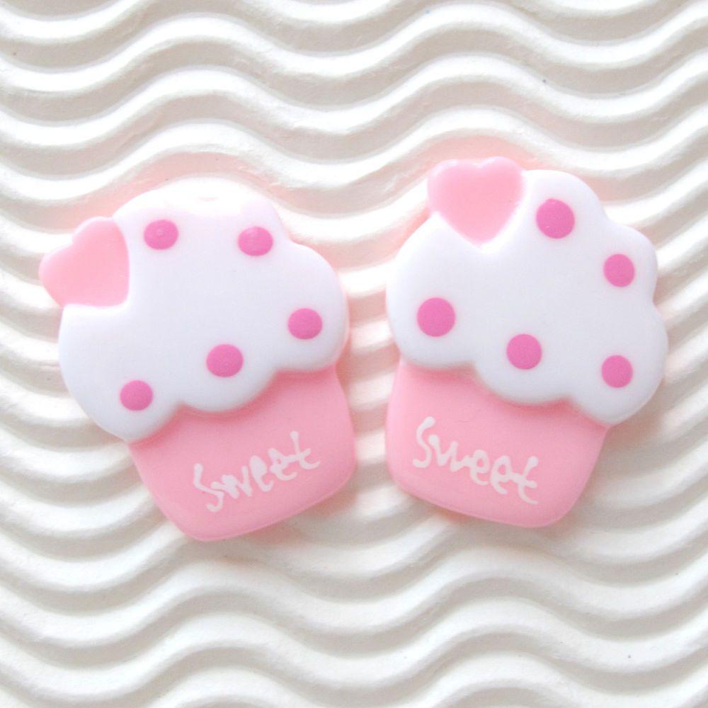 "US SELLER - 12 pc x (1 1/8"") Resin Ice Cream Flatback Beads/Sweet/Cupcake SB531P #Flatback"