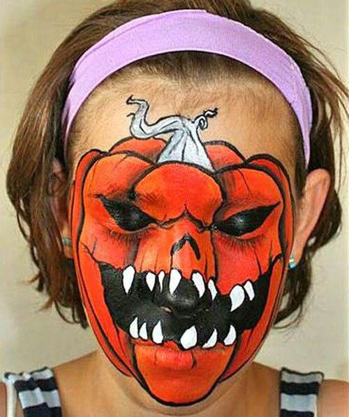 This Scary Pumpkin Face Paint Is Frightfully Good Halloween makeup - halloween face paint ideas scary