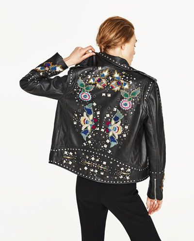Faux Jacket Leather New In With Embroidered Details Metallic iTOPkwuXZ